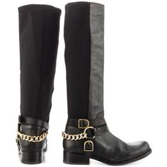 """BETSEY JOHNSON Leather """"Bikerr"""" Moto Biker Boots Worn twice, like new! Trying to downsize my boot collection. Genuine leather knee-high boots by Betsey Johnson. Very comfy! Features elastic panel and gold hardware details. So cute and looks great with jeans! Betsey Johnson Shoes"""