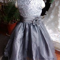 Flower girl dress/wedding/party/graduation/tank style/satin/sash flower/silver grey