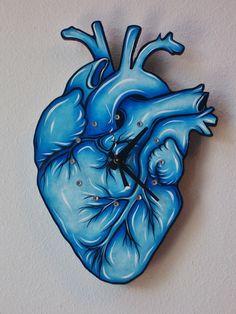 Blue Anatomical Heart Original Art Clock by OffHerRockerArt,