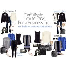 """How to Pack for a Business Trip with Style"" by travelfashiongirl on Polyvore"
