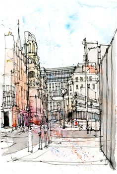 Peter Street, Manchester as drawn by Simone Ridyard of Urban Sketchers