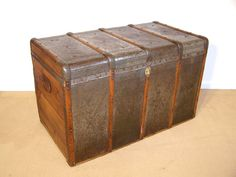 vintage pine chest restored antique trunk coffee table blanket toy