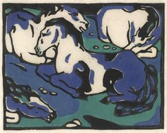 Horses Resting by Franz Marc | Art Posters