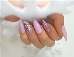 Long, almond, pink, glitter, matte nails