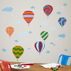 Hot Air Balloon Wall Decals in Wall Decals | The Land of Nod... A spark of individuality!