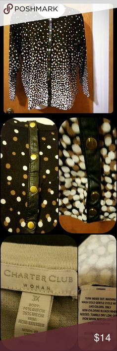 "Cardigan with faux leather trim Really cute blk, white & brown cardigan with faux leather trim & gold buttons. Size 3X. 74% rayon & 26% nylon.  Approx Flat Lay Measurements: Armpit  - Armpit  25.5"" Length                  26.5"" Sleeve  width     10.5"" Sleeve length     24.5 Coldwater Creek Sweaters Cardigans"