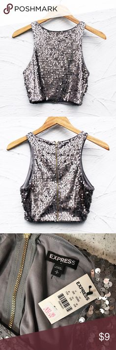 Express silver sequin crop top *NEW* Sz Small Really fun gray sequin crop top! This brand new silver sequin crop top tank is perfect for parties and going out! Express always makes super nice clothes so of course the quality is great! This silver sequin top has never been worn and is brand new condition! Express Tops Crop Tops