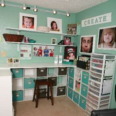 Share Photos : Storage & Organization:My scraproom! love the pictures. Craft Room Storage, Craft Organization, Storage Ideas, Paper Storage, Desk Storage, Space Crafts, Home Crafts, Craft Space, Small Craft Rooms