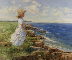 Early Summer Day by Sally Swatland - 30 x 36 inches Signed; also signed and titled on the reverse impressionist beach scenes children playing contemporary american chase pothast