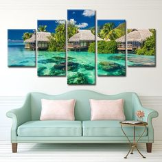 Canvas Paintings Wall Art 5 Pieces Be Inspired With Nature Pictures Living Room Decor HD Prints Blue Seascape Posters Framework Canvas Home, Canvas Wall Art, Wall Art Prints, House Canvas, Canvas Paintings, Interior Design Instagram, Home Interior Design, Canvas Pictures, Print Pictures