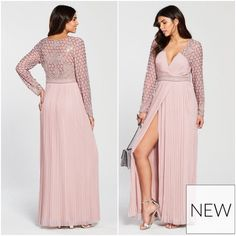 Lilac Long Sleeved Embellished Wrap Dress Pleated Prom Ball Gown Maxi High Split #FrockandFrill #WrapDress #AnyOccasion