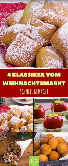 What comes to mind about Christmas market? Right, the delicious food! There are love apples, roasted almonds, Schmalzkuchen or Mutzen and Quarkbällchen. We have the recipes for Christmas snacks and de Candy Recipes, Cookie Recipes, Dessert Recipes, Delicious Desserts, Yummy Food, Christmas Snacks, Roasted Almonds, Food Goals, Easy Dinner Recipes