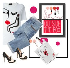 """""""Outside the Box"""" by petalp ❤ liked on Polyvore featuring Seletti, Dsquared2, Lucy Choi London, NYX, MAC Cosmetics, Smashbox, Givenchy, Sophia Webster, Americanflat and Wrap"""