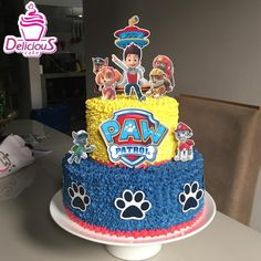 Girls Paw Patrol Cake, Bolo Do Paw Patrol, Torta Paw Patrol, Paw Patrol Cupcakes, Paw Patrol Birthday Decorations, Paw Patrol Birthday Theme, Twin Birthday Cakes, Birthday Party Tables, 3rd Birthday