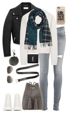 """""""Untitled #1867"""" by namelessale ❤ liked on Polyvore featuring Comme des Garçons, Yves Saint Laurent, Dondup, Acne Studios, Comptoir Des Cotonniers, Tom Ford, Fendi, Ray-Ban and Casetify"""