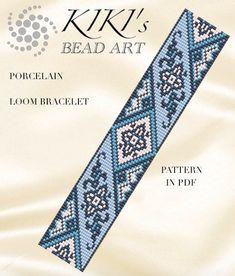 Bead loom pattern Porelain floral LOOM bracelet pattern PDF Loom Bracelet Patterns, Seed Bead Patterns, Bead Loom Bracelets, Beaded Jewelry Patterns, Beading Patterns, Loom Bands, Art Perle, Loom Knitting Projects, Tear