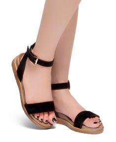 bee86eb58a2 HerStyle Needed Me- Ankle Strap Flat Platform Sandal (Black)