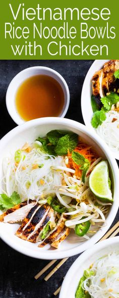 Easy Vietnamese-Style Noodle Bowls with Chicken are the perfect meal in a bowl. Made with vermicelli rice noodles, chicken, fresh herbs and vegetables, and a tangy rice vinegar dressing. Asian Recipes, Healthy Recipes, Ethnic Recipes, Healthy Foods, Chicken Buns, Vermicelli Recipes, Noodle Bowls, Noodle Salad, Vinegar Dressing