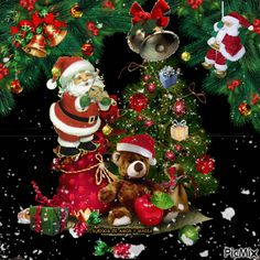 Merry Christmas and a New Year Happy in Family Merry Christmas Gif, Christmas Scenes, Merry Christmas And Happy New Year, Christmas Pictures, Christmas Art, Christmas Greetings, Beautiful Christmas, Vintage Christmas, Christmas Holidays