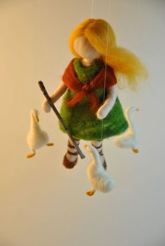 Waldorf inspired needle felted doll mobile The Goose by MagicWool, $65.00