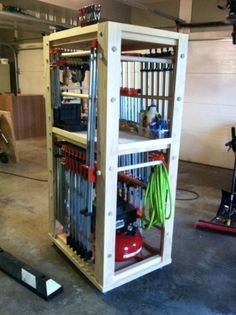 Mobile clamp and assembly cart for the shop.  I have since changed the casters out for much larger ones since the cart is pretty darn heavy with even more clamps on it now.