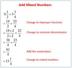 how to add and subtract mixed numbers with unlike denominators, examples and step by step solutions Math Vocabulary, Maths Algebra, Math Fractions, Decimal Multiplication, Math Charts, Math Anchor Charts, Math Formula Chart, Grade 6 Math, Math Pages