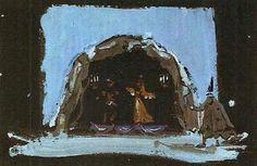 Watercolour of Louis Jouvet's 1937 production at the Comédie Française