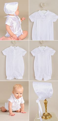 A handsome and understated warm weather romper, the Owen, is a great summer option with adorable bonnet.