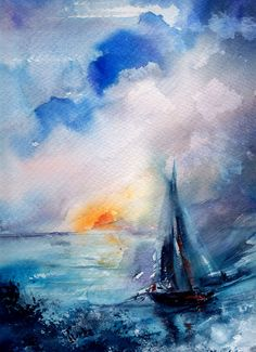 Original Watercolor Painting, Sailboat in a Sea, Nautical Painting, Seascape Painting, Watercolour by CanotStop on Etsy