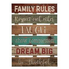 Graham Dunn Family Rules Respect Laugh Dream 17 x 24 Inch Solid Pine Wood Skid Wall Plaque Sign Family Wall Decor, Wood Wall Decor, Family Rules, Family Signs, Pallet Art, Pallet Signs, Nantucket Style, Fall Mantel Decorations, How To Antique Wood