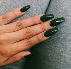 Dark Green Squoval Acrylic Nails