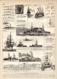 Battleship 1897 Antique Print Vintage Lithograph by Craftissimo, €12.00