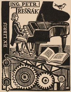 Ex libris by Michael Florian for Ing. Petr Tresnak
