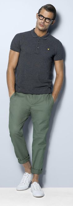 Lyle and Scott plain polo in grey, classic chino in green and Fred Perry Woodford canvas shoe #DavidJonesStore