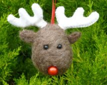 Handmade Needle Felted Bauble Rudolf the Reindeer Christmas Tree Decoration made from British Shetland sheep wool