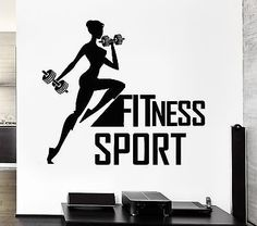 Wall Decal Fitness Sport Woman Bodybuilding Healthy Gym Art Mural (ig2586)