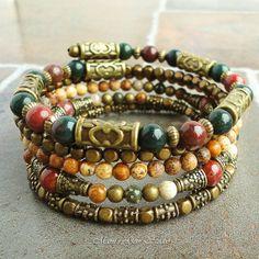 Boho Gypsy Bracelet Wrap Around Bracelet Beaded by mamisgemstudio, $39.95