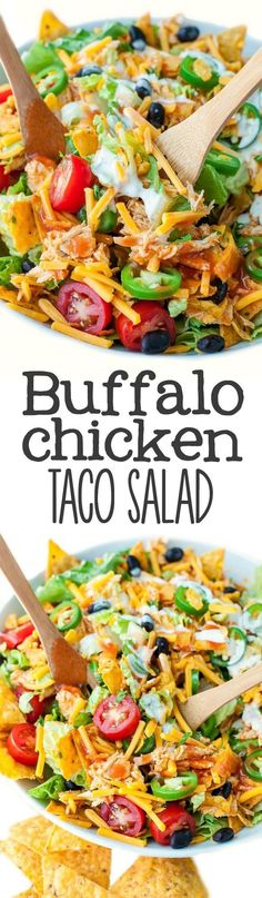 Chicken Taco Salad Your plate called. It wants you to make this Buffalo Chicken Taco Salad, stat! This is totally my new favorite way to use up leftover chicken!Your plate called. It wants you to make this Buffalo Chicken Taco Salad, stat! This is totally Healthy Salad Recipes, Yummy Recipes, New Recipes, Dinner Recipes, Cooking Recipes, Cocktail Recipes, Healthy Meals, Favorite Recipes, Vegetarian