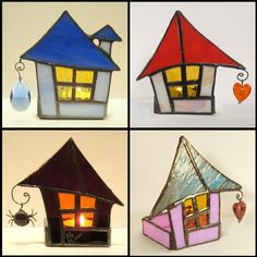 Stained Glass Votive Candle Holder - Brick Roof Cottage