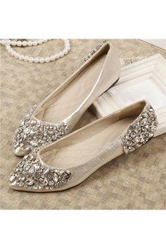 Glamorous Rhinestone Point Toe Comfort Flats - Shoespie.com