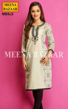 Cream Chanderi Cotton Kurti -  Inspired by Warli paintings of Maharahtra, this Chanderi Cotton Printed Kurti features abstract print beautified with Black Resham Embroidery on the Yoke. The Hemline and sleeves are accentuated by Contrast patch patti.. Perfect for Social gatherings, this Kurti would look stunning with Contrast Leggings.