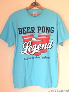NWT Men's T-shirt BEER PONG LEGEND M or L Teal Heavyweight Cotton Blend #JERZEES #GraphicTee