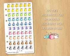 60 Mini Watercolor Stickers for Housework (Bin Bag), Perfect for Filofax Personal and Kikki.k Medium Bin Bag, Watercolor Stickers, Filofax, Photo Wall, Rainbow, Medium, Mini, Unique Jewelry, Frame