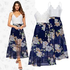 UK-Boho-Womens-Straps-Lace-Chiffion-Evening-Club-Party-Long-Maxi-Dress-Size-8-18