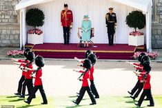 The monarch cut an elegant figure in a recycled turquoise coat and matching hat - in what ... Queen Elizabeth Ii Birthday, Queen Birthday, Buckingham Palace Garden Party, Queen's Official Birthday, Trooping Of The Colour, Royal Family News, Royal Families, Horse Guards Parade, Royal Engagement