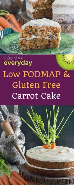 Our low FODMAP carrot cake is moist, easy to make and won't upset your tummy. Join us at FODMAP Everyday and learn to thrive on the low FODMAP diet with our exclusive recipes - there are hundreds to choose from! Gluten Free Baking, Gluten Free Desserts, Gluten Free Recipes, Gf Recipes, Potato Recipes, Vegetarian Recipes, Fodmap Dessert Recipe, Fodmap Recipes, Fodmap Foods