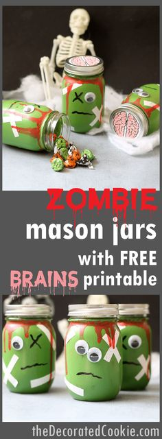 zombie mason jars with FREE brains printable -- Halloween craft -- Halloween decor