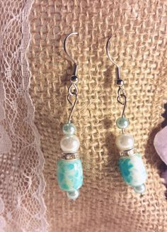 Teal and white earrings
