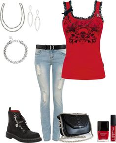 """""""Lace Skull Top"""" by ding1 on Polyvore (a favourite gothic punk clothes repin of VIP Fashion Australia) :)"""