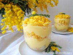 Włoski deser mimoza (Dessert mimosa al cucchiaio) Breakfast Cake, Cannoli, Sweet Cakes, Antipasto, Biscotti, Feta, Mousse, Latte, Recipies